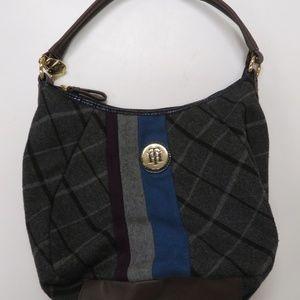 Tommy Hilfiger Gray Plaid and Stripe Purse Bag